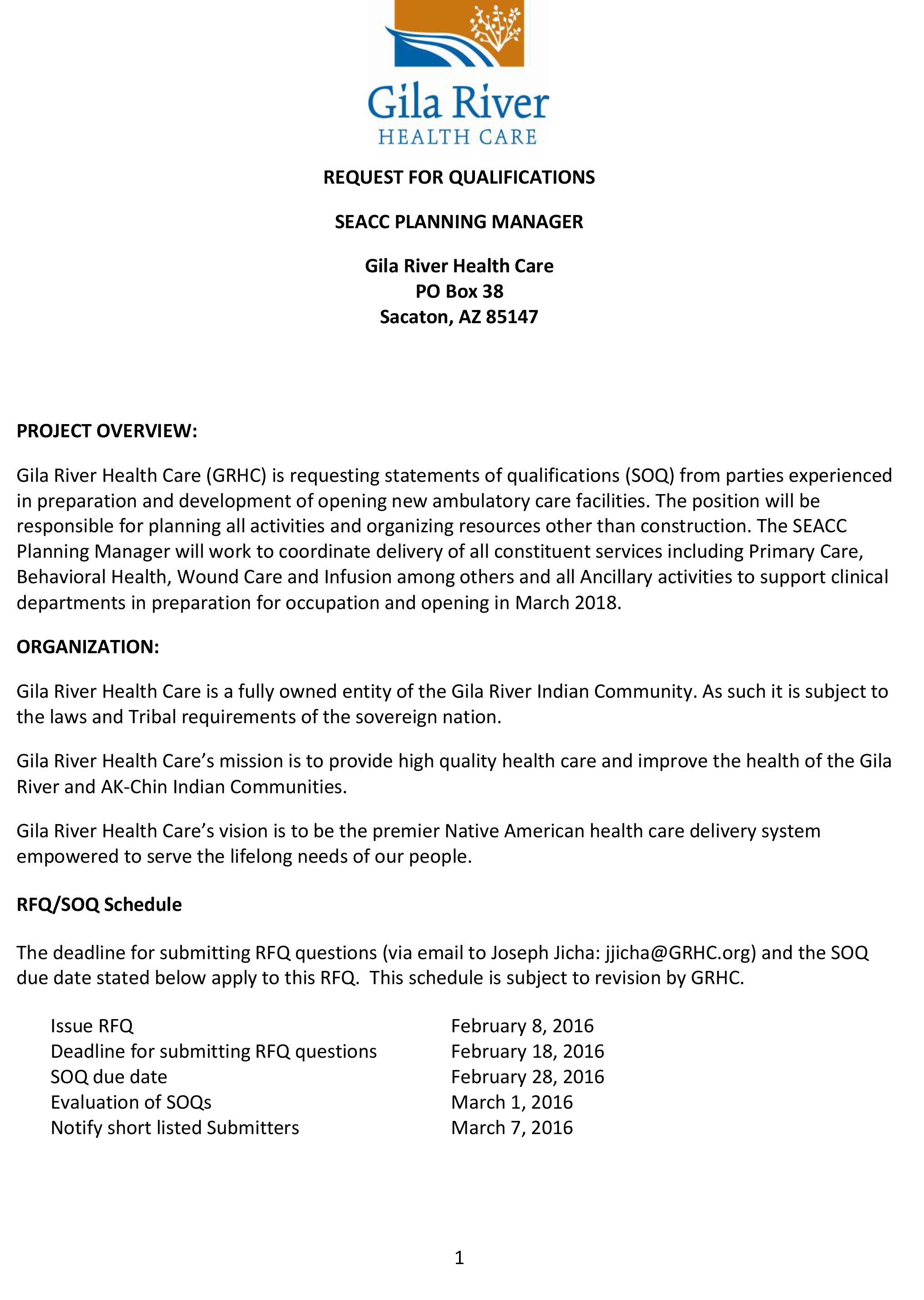 SEACC RFQ-1