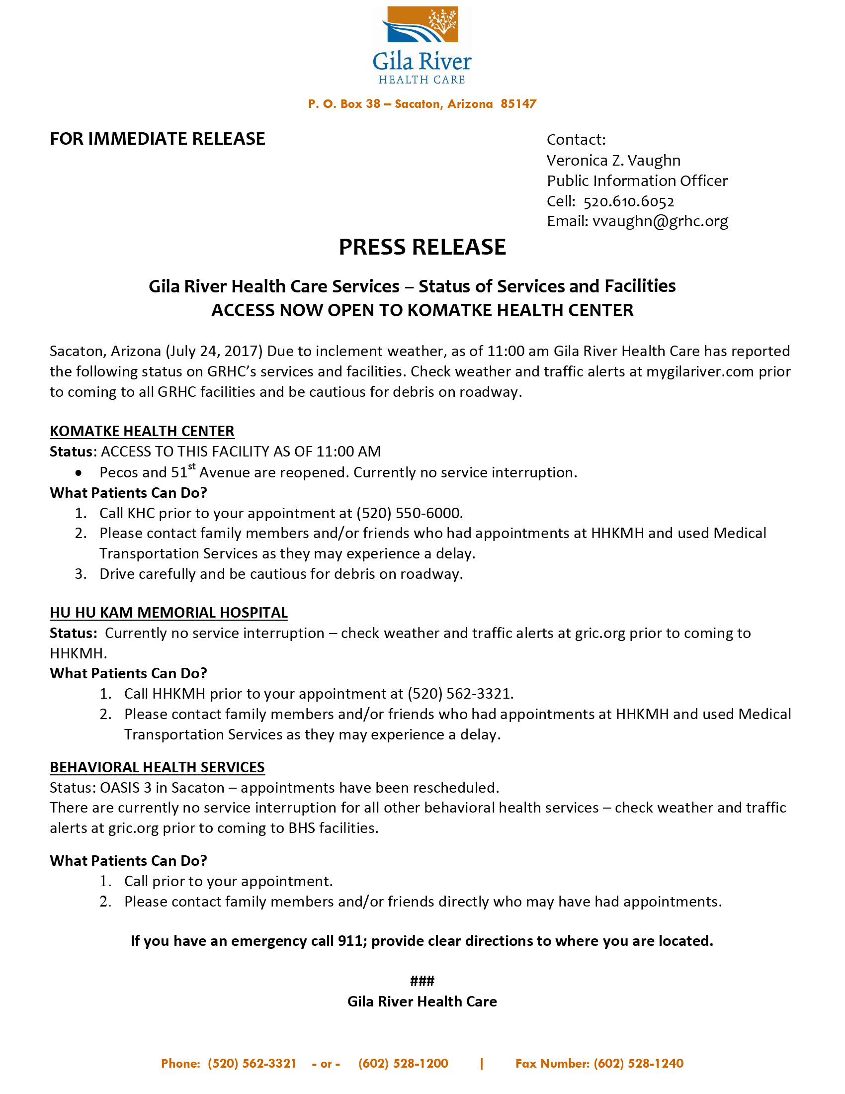 GRHC Press Release 7/24/17