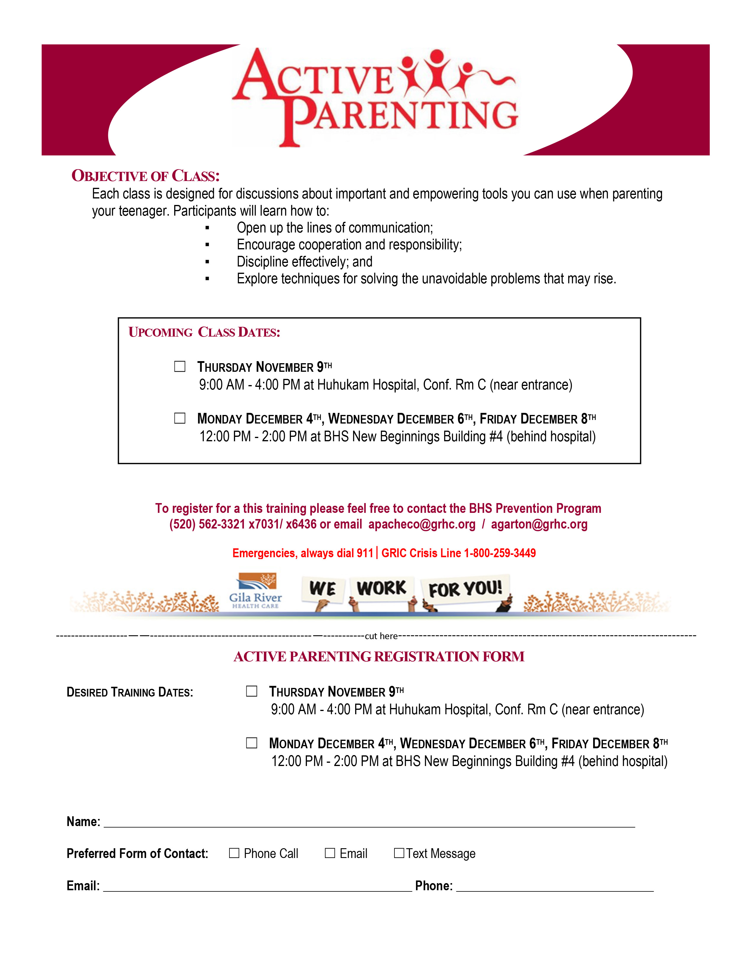 ACTIVE PARENTING REGISTRATION FORM